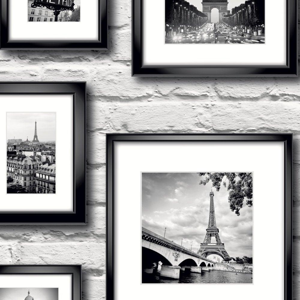 Muriva Paris in Frame Wallpaper Black, White (77209) - Wallpaper ...