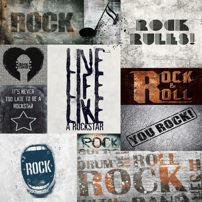 Muriva Rock Rules Wallpaper Charcoal / Grey / Whilte (102567)