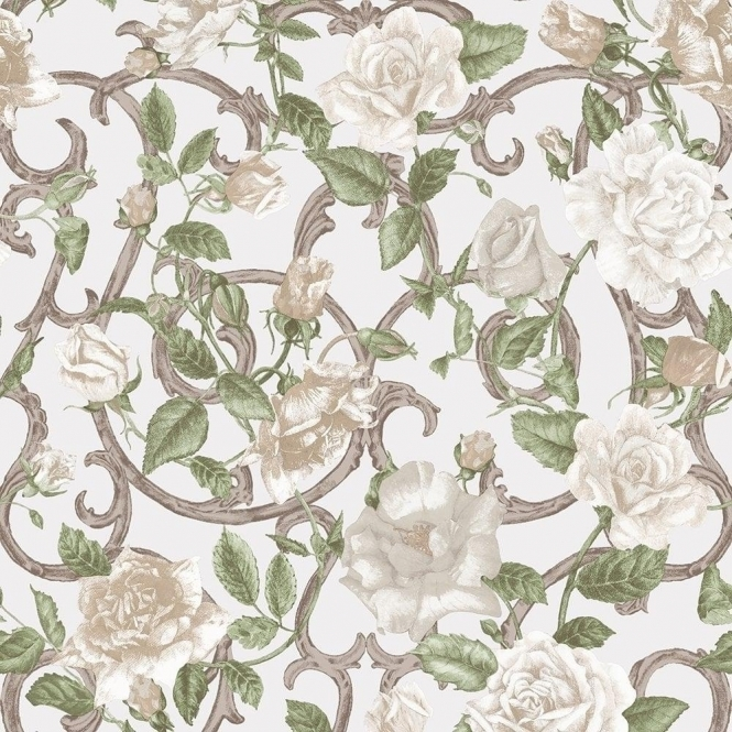 Muriva Rose Trellis Floral Wallpaper Cream, Ivory (135502)