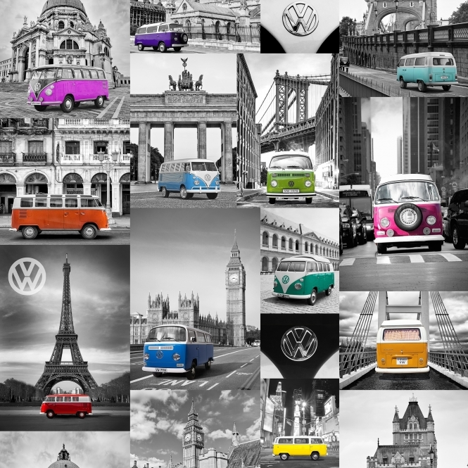 Muriva VW City Campers Wallpaper Blue, Pink, Orange (E95011)