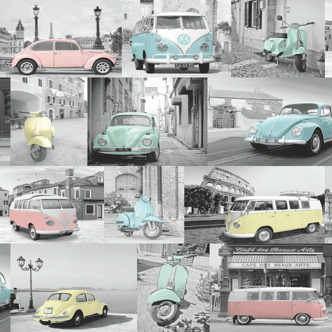 Muriva VW Collage Wallpaper Grey, Blue, Pink, Yellow (102563)