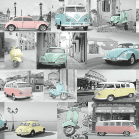 Muriva VW Collage Wallpaper Grey Blue Pink Yellow