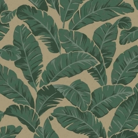 Mustique Floral Leaf Flock Wallpaper Green