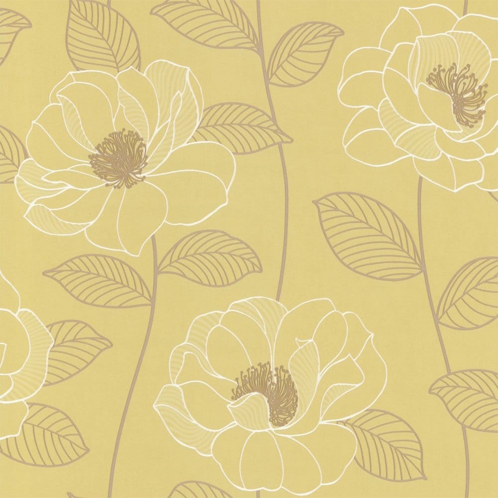 Arthouse Mystique Floral Wallpaper Green Brown Cream - Green and brown wallpaper