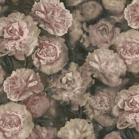 New Studio Romantic Flower Bloom Wallpaper Pink, Rose, Black