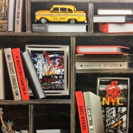 New York Book Case Wallpaper Multicoloured