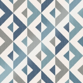 Nordic Geometric Wallpaper Blue