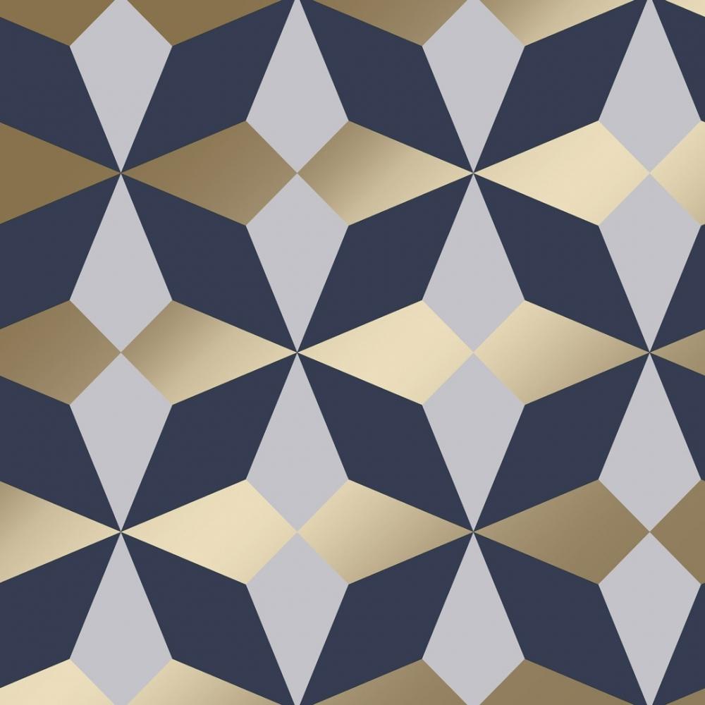 Nova Geometric Wallpaper Navy Gold