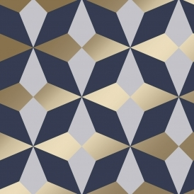 Nova Geometric Wallpaper Navy Gold