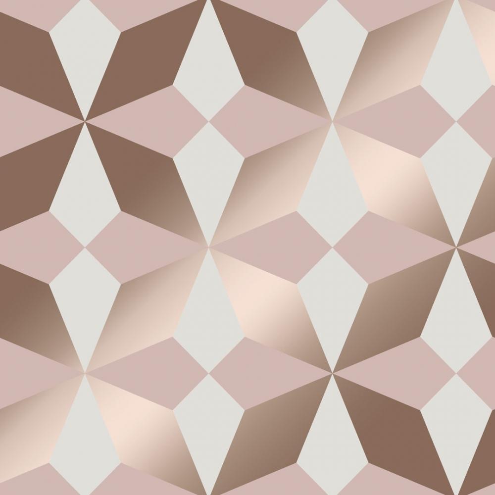 Nova Geometric Wallpaper Rose Gold