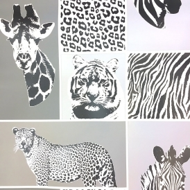 Novelty Animal Wallpaper Grey