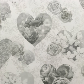 Novelty Heart Wallpaper Grey