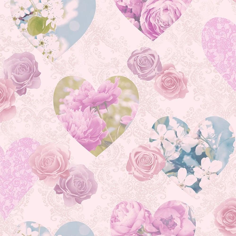 Novelty Heart Wallpaper Pink