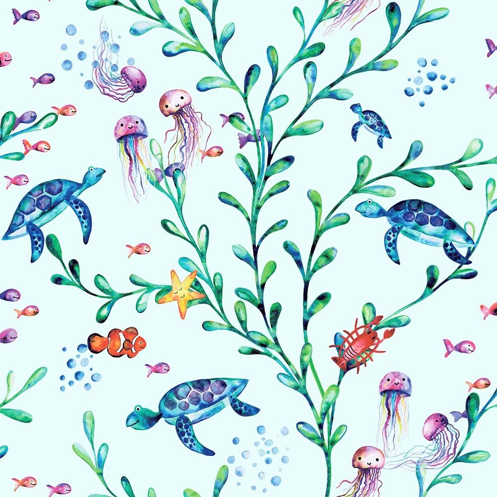 Oceanic Childrens Wallpaper Light Teal Multicoloured