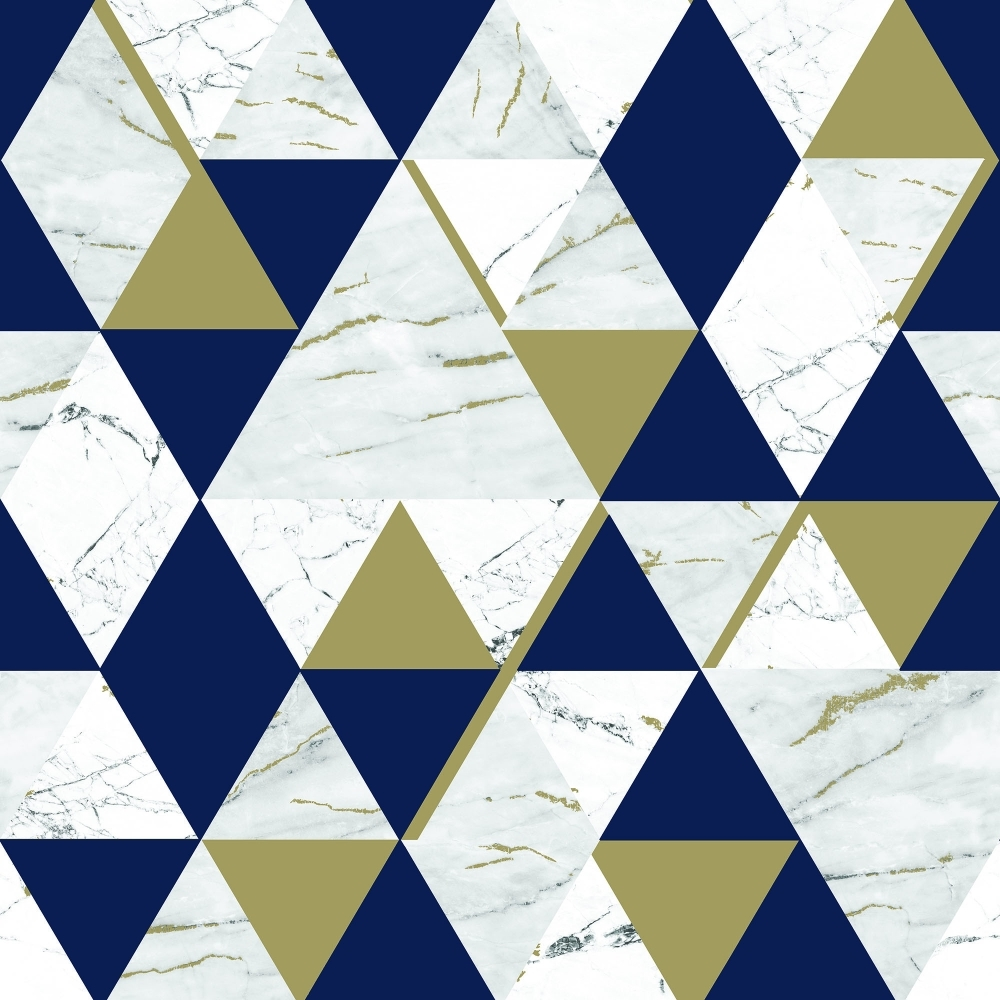 House Of Alice Onyx Marble Metallic Wallpaper Navy Blue
