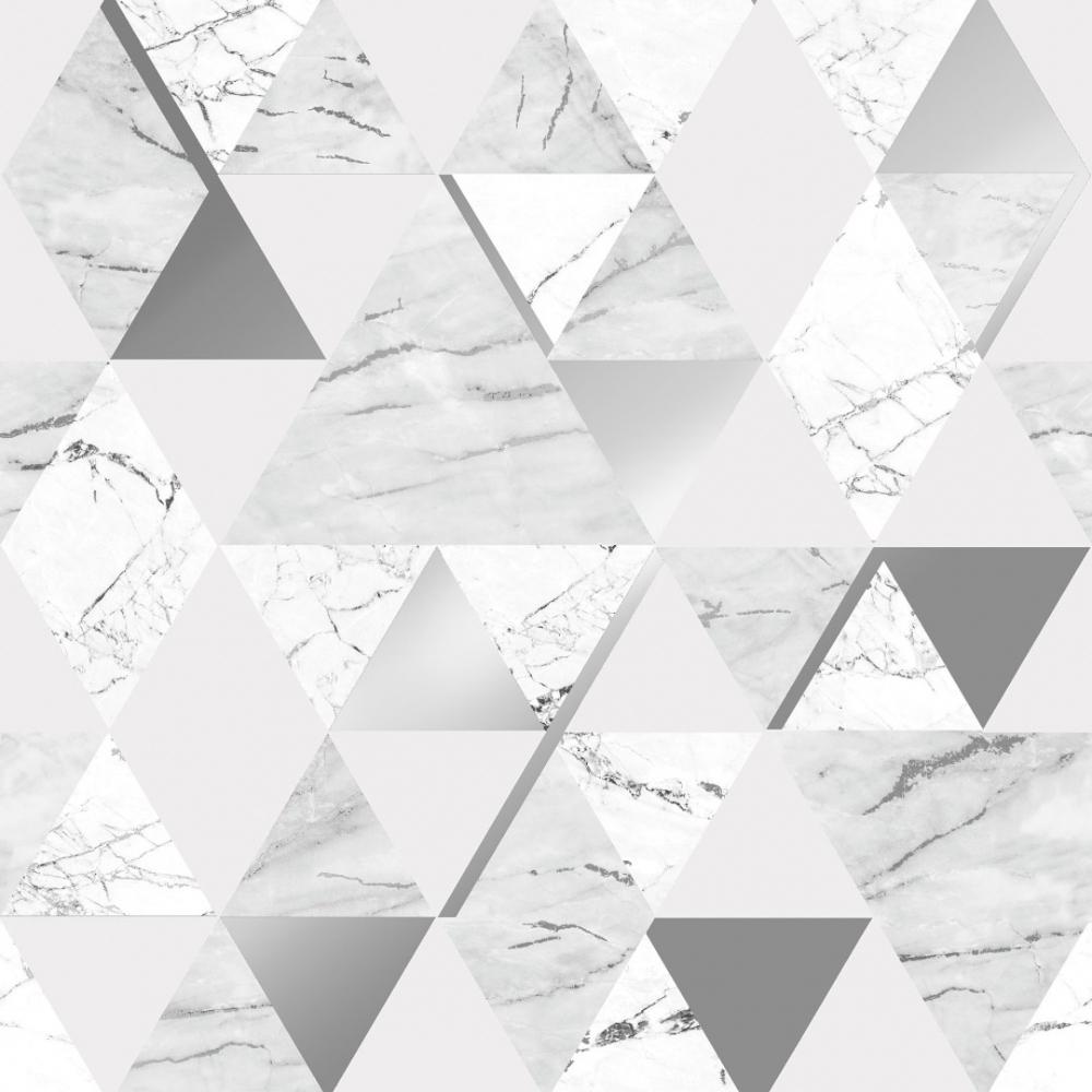 House Of Alice Onyx Marble Metallic Wallpaper Soft Grey