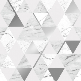 Onyx Marble Metallic Wallpaper Soft Grey Silver