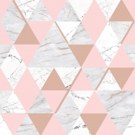 Onyx Marble Metallic Wallpaper Soft Pink, Rose Gold (H980567)