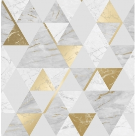 Onyx Marble Metallic Wallpaper White Gold