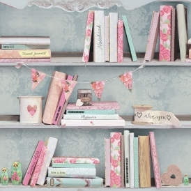 Opera Curious Bookcase Wallpaper Multicoloured