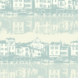 Opera Reflection Vintage Buildings Wallpaper Teal