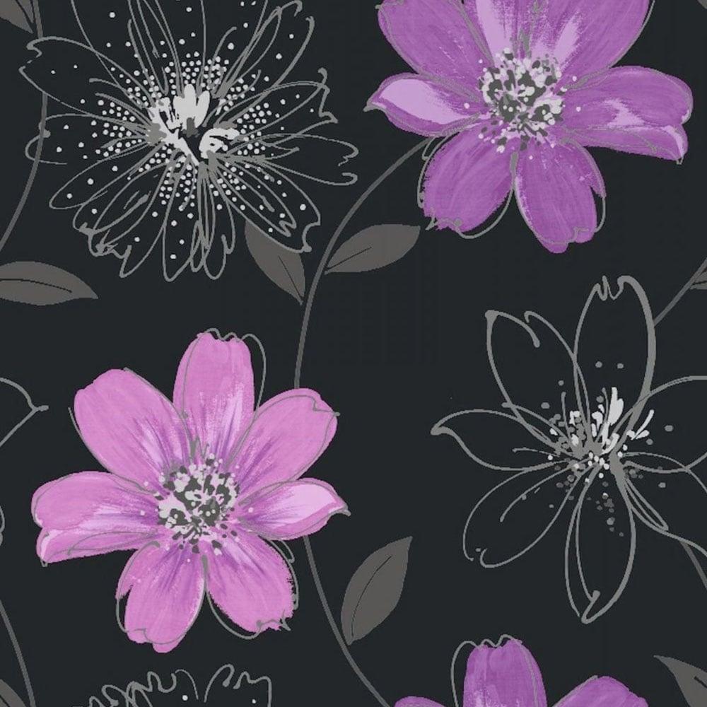 Arthouse Opera Samba Floral Wallpaper Black Purple