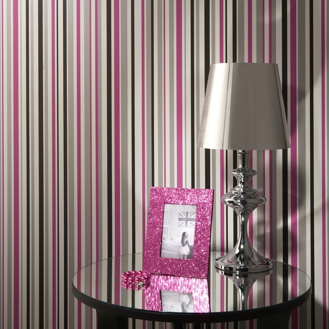 Arthouse Opera Super Stripe Wallpaper Black, Pink (533603)