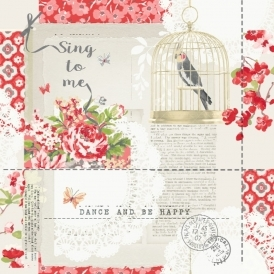 Options 2 Sing To Me Shabby Chic Wallpaper Red (671300)