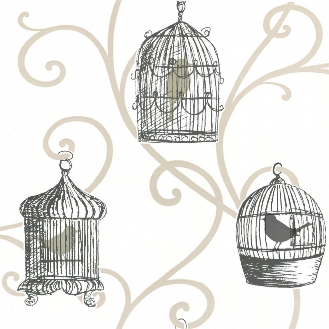 Arthouse Options Skylark Bird Cage Wallpaper Gold (417401)