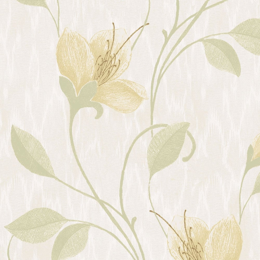 Opus Vinyl Juliet Floral Wallpaper Green Wallpaper From