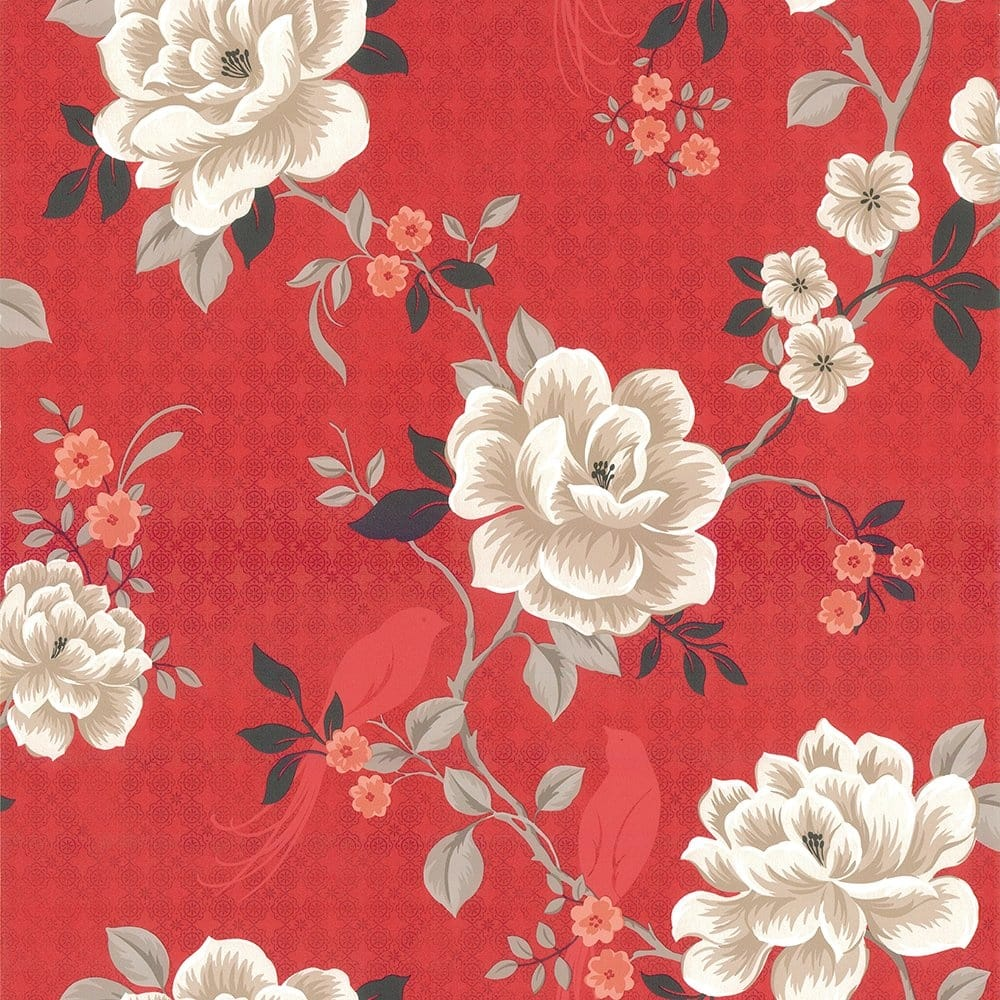Designer selection oriental floral birds wallpaper red for Black and cream wallpaper