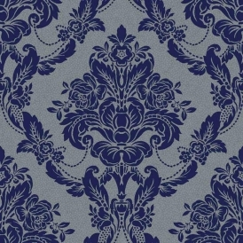 Palais Spot Damask Flock Wallpaper Navy