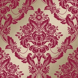 Palais Spot Damask Flock Wallpaper Scarlett