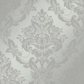 Palais Spot Damask Flock Wallpaper Silver