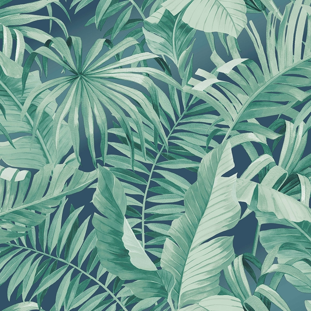 Lucie Annabel Palma Tropical Wallpaper Navy Wallpaper