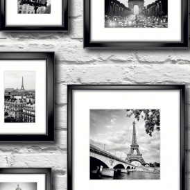 Paris in Frame Wallpaper Black / White (77209)