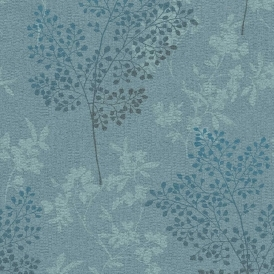 Parkland Floral Leaf Wallpaper Teal, Blue