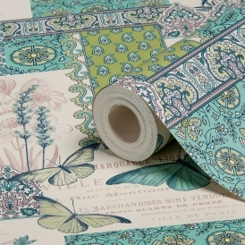 Patience Patchwork Wallpaper Green Cream