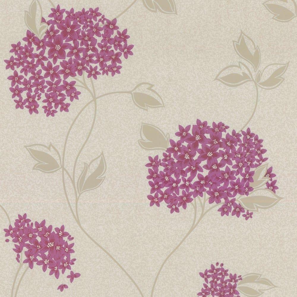 crown patricia floral wallpaper plum purple mo473. Black Bedroom Furniture Sets. Home Design Ideas