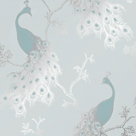 Peacock Empress Wallpaper Teal Duck Egg