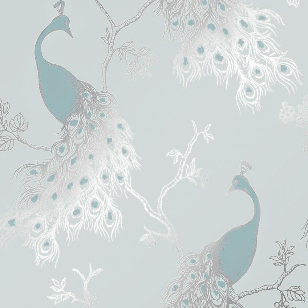 Peacock Empress Wallpaper Teal Duck Egg Wallpaper From I
