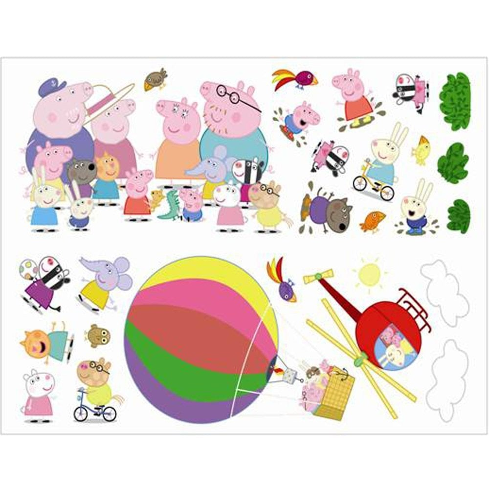 fun4walls peppa pig hot air balloon wall stickers glee stikarounds wall stickers 23 pieces