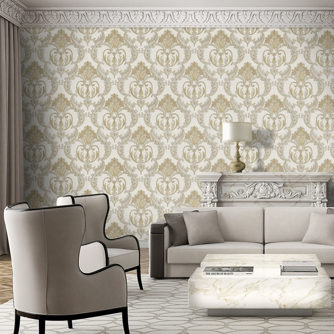 Debona Perla Damask Wallpaper Gold (9090)