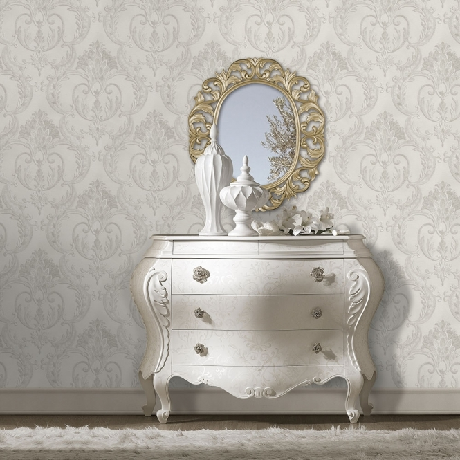 Debona Perla Damask Wallpaper Silver (9092)