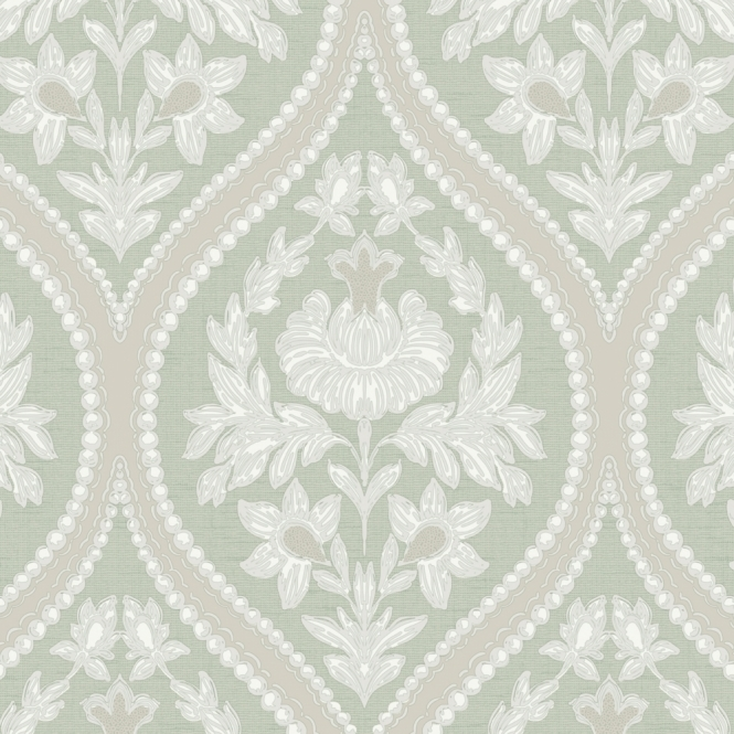Designer Interiors Pienza Damask Wallpaper Green (35482)