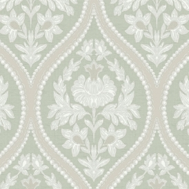 Pienza Damask Wallpaper Green