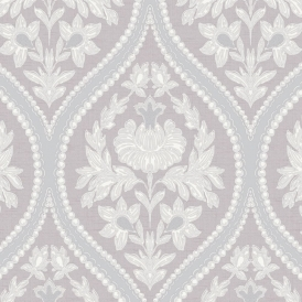 Pienza Damask Wallpaper Heather