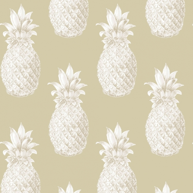 Lucie Annabel Pineapples Motif Wallpaper Beige