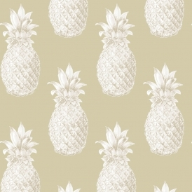 Pineapples Motif Wallpaper Beige