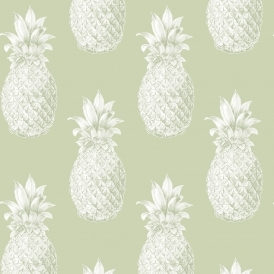 Pineapples Motif Wallpaper Green
